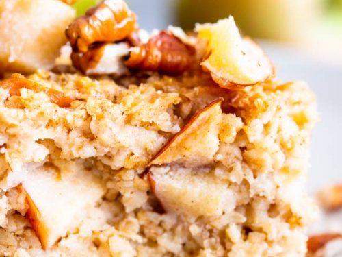 cinnamon apple baked oatmeal on a plate