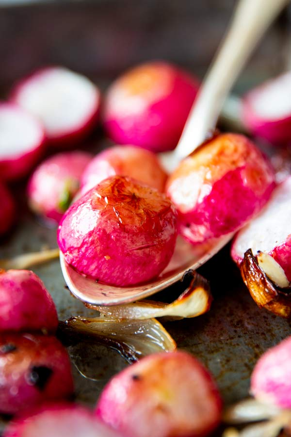 close up photo of oven roasted radishes