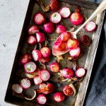 tray with roasted radishes