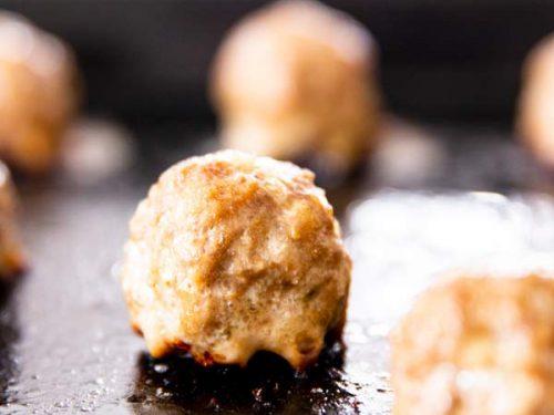 easy homemade meatballs on a baking sheet
