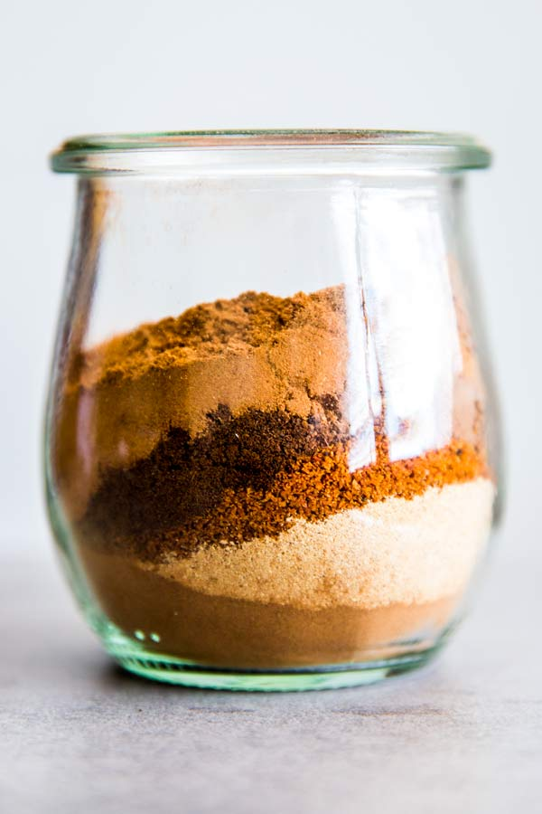 spices in a jar for pumpkin spice mix
