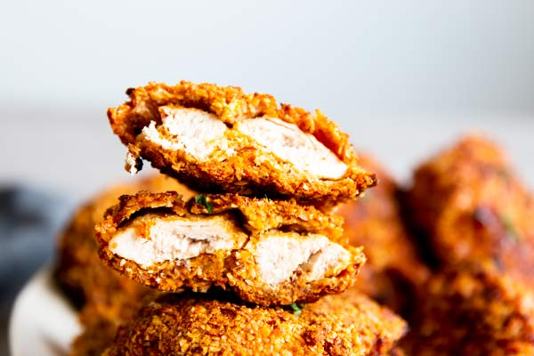 stack of low carb oven fried chicken