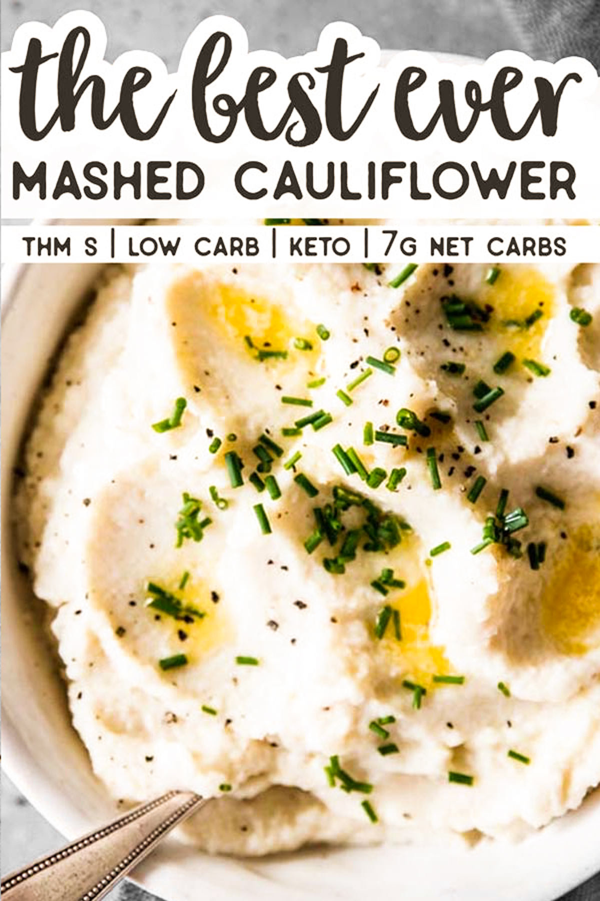 close up of mashed cauliflower with text overlay