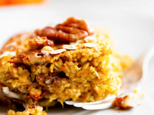 close up photo of pumpkin baked oatmeal