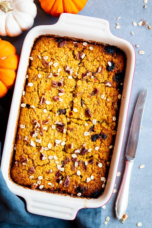 pumpkin baked oatmeal in a baking dish