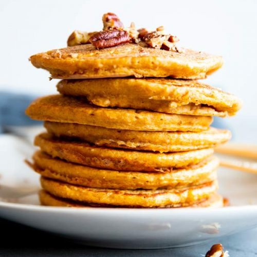 stack of pumpkin oatmeal pancakes