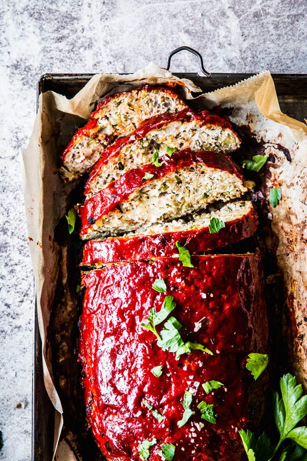 mediterranean turkey meatloaf on a tray