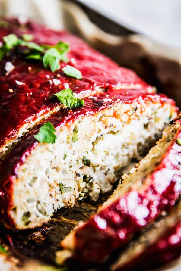 close up photo of mediterranean turkey meatloaf