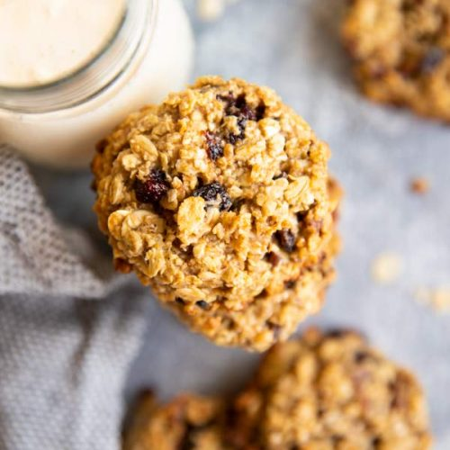 close up photo of healthy oatmeal breakfast cookies