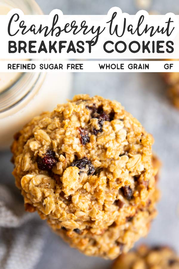 Cranberry Walnut Oatmeal Breakfast Cookies Pin 1