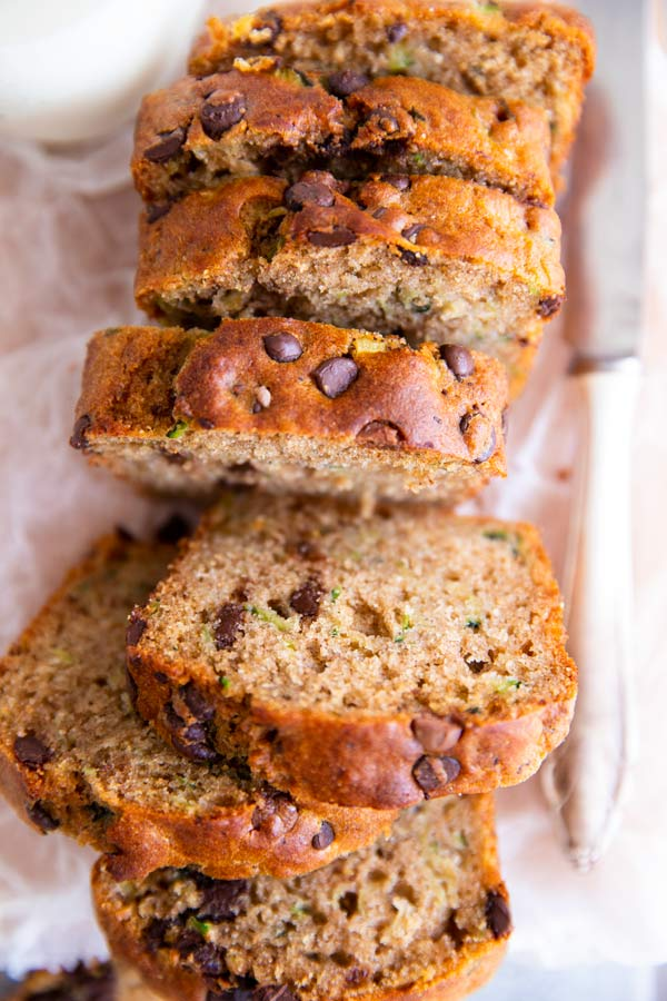 sliced healthy zucchini bread with chocolate chips