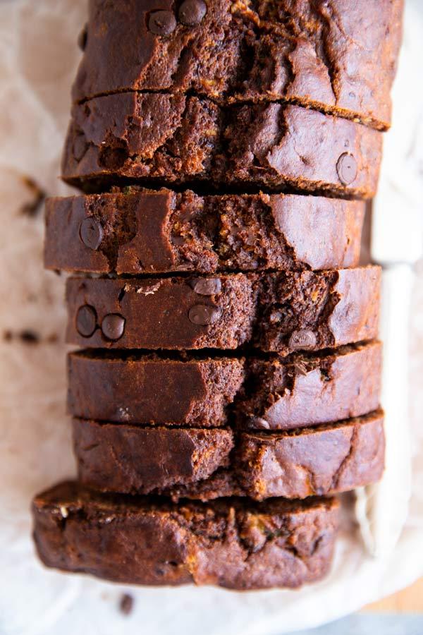 sliced chocolate zucchini bread