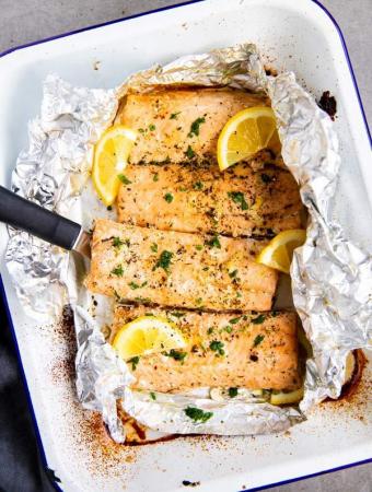 baking dish with lemon garlic butter salmon