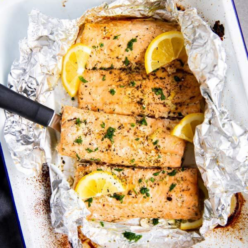 baking dish with lemon garlic butter salmon