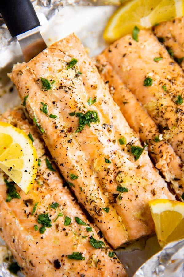 close up of a salmon fillet baked in foil