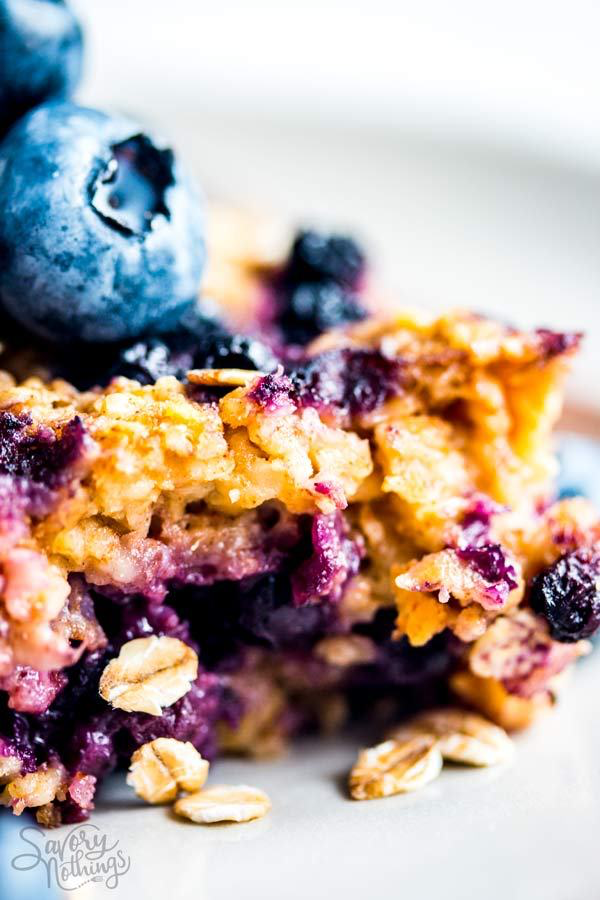 close up photo of blueberry oatmeal bake