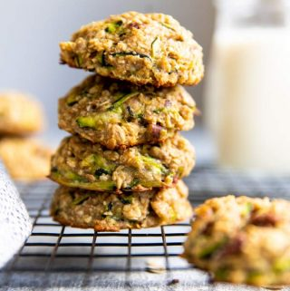stack of healthy zucchini oatmeal breakfast cookies