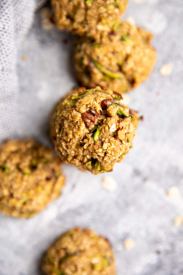 zucchini breakfast cookies on the counter