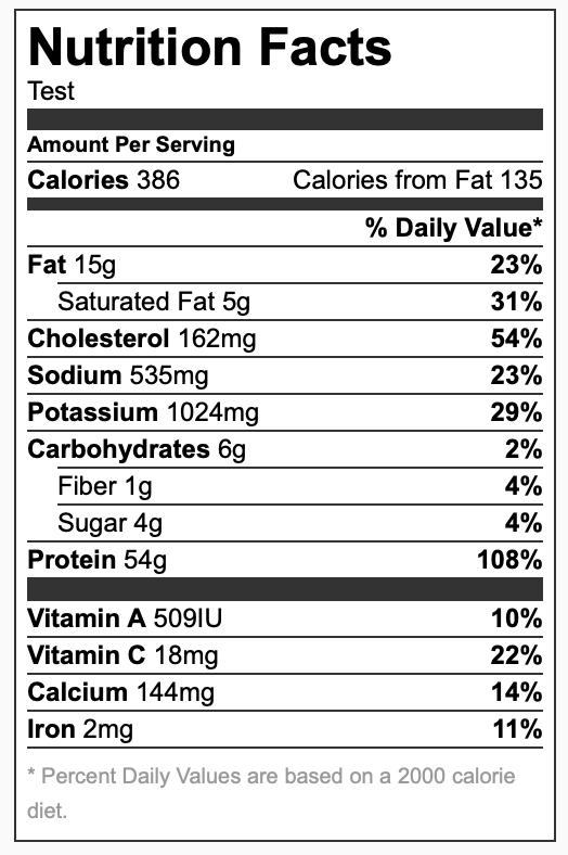 Nutrition Label Balsamic Glazed Caprese Chicken
