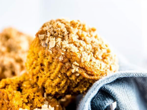 healthy pumpkin muffins in a basket