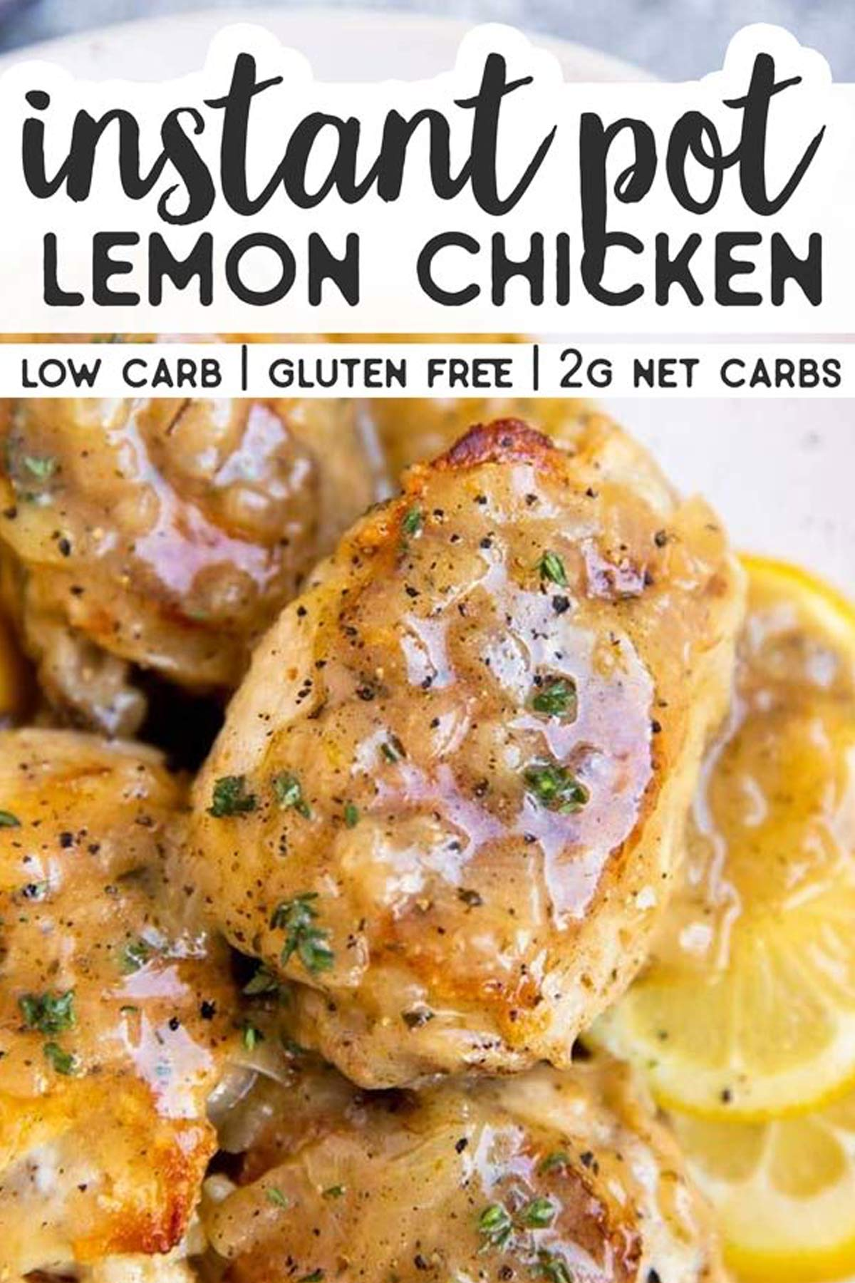 close up photo of chicken thigh in lemon sauce with text overlay