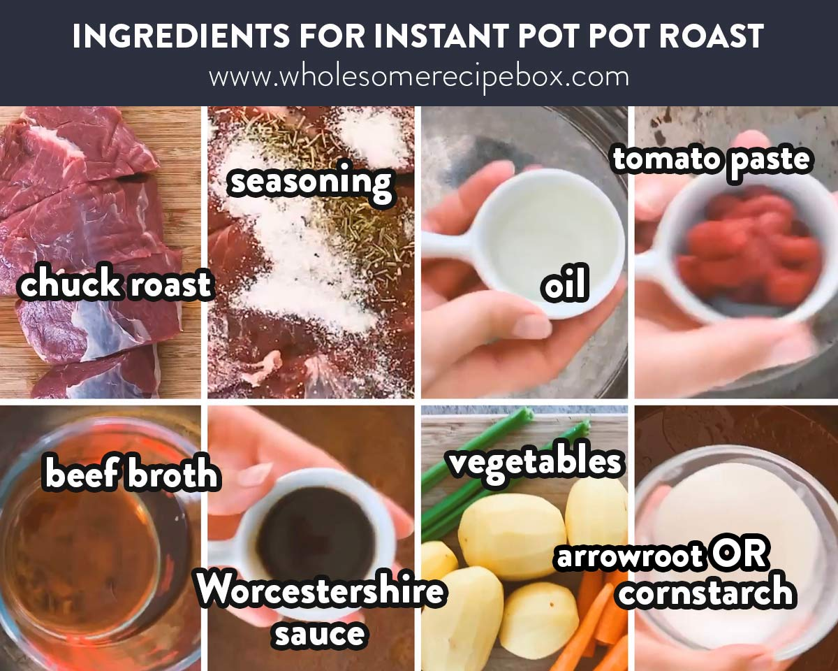 collage of ingredients to make instant pot pot roast