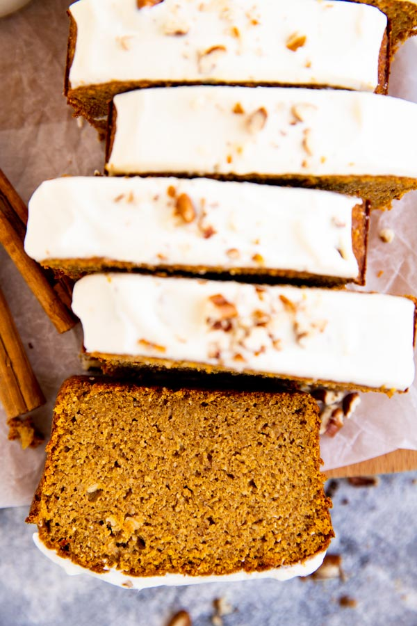 keto pumpkin bread with cream cheese frosting