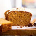 sliced low carb pumpkin bread on wooden board
