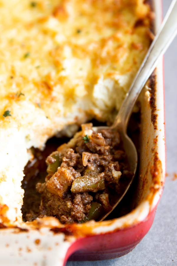 close up photo of spoon in low carb shepherd's pie