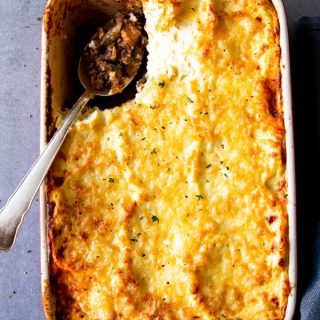 top down view on casserole dish with low carb shepherd's pie