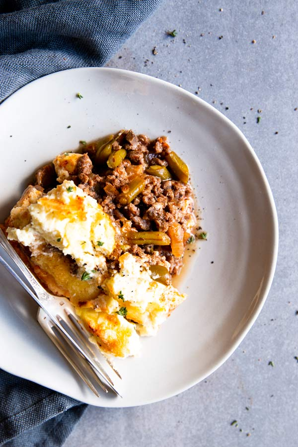 top down view of plate with low carb shepherd's pie