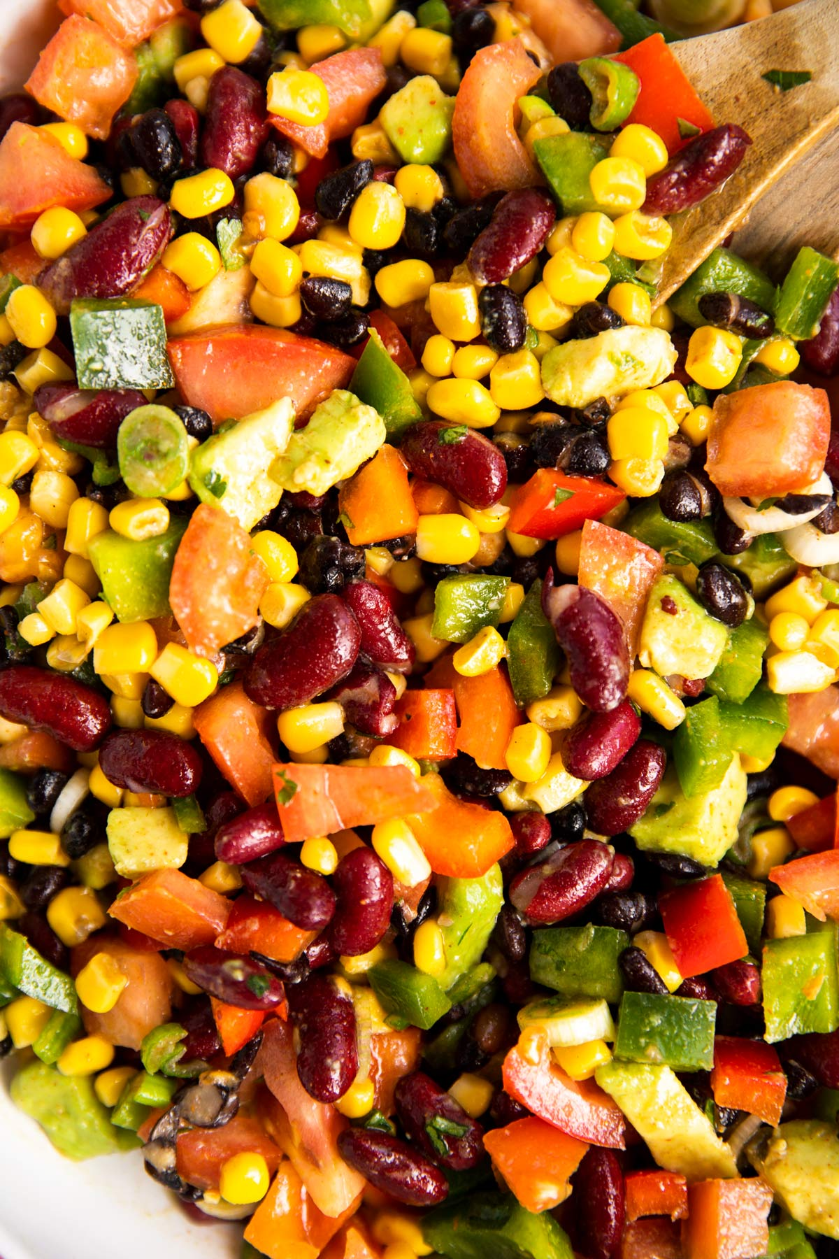 close up photo of bean and corn salad