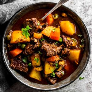 black bowl with beef stew