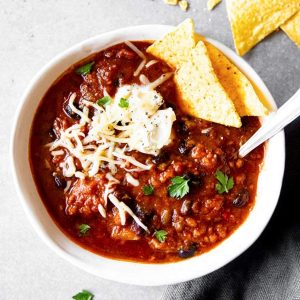 bowl with turkey pumpkin chili
