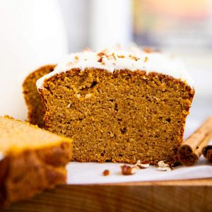 sliced low carb pumpkin bread on wooden board