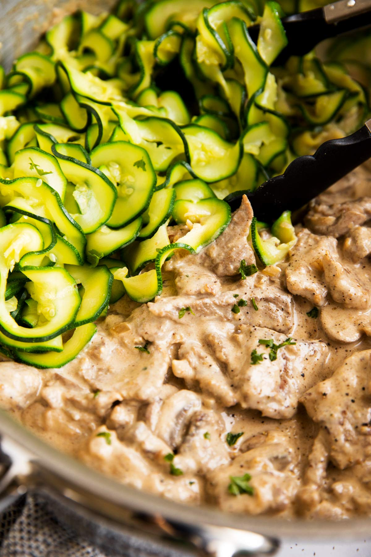 close up photo of keto stroganoff with zucchini noodles