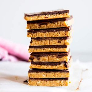 stack of low carb peanut butter bars