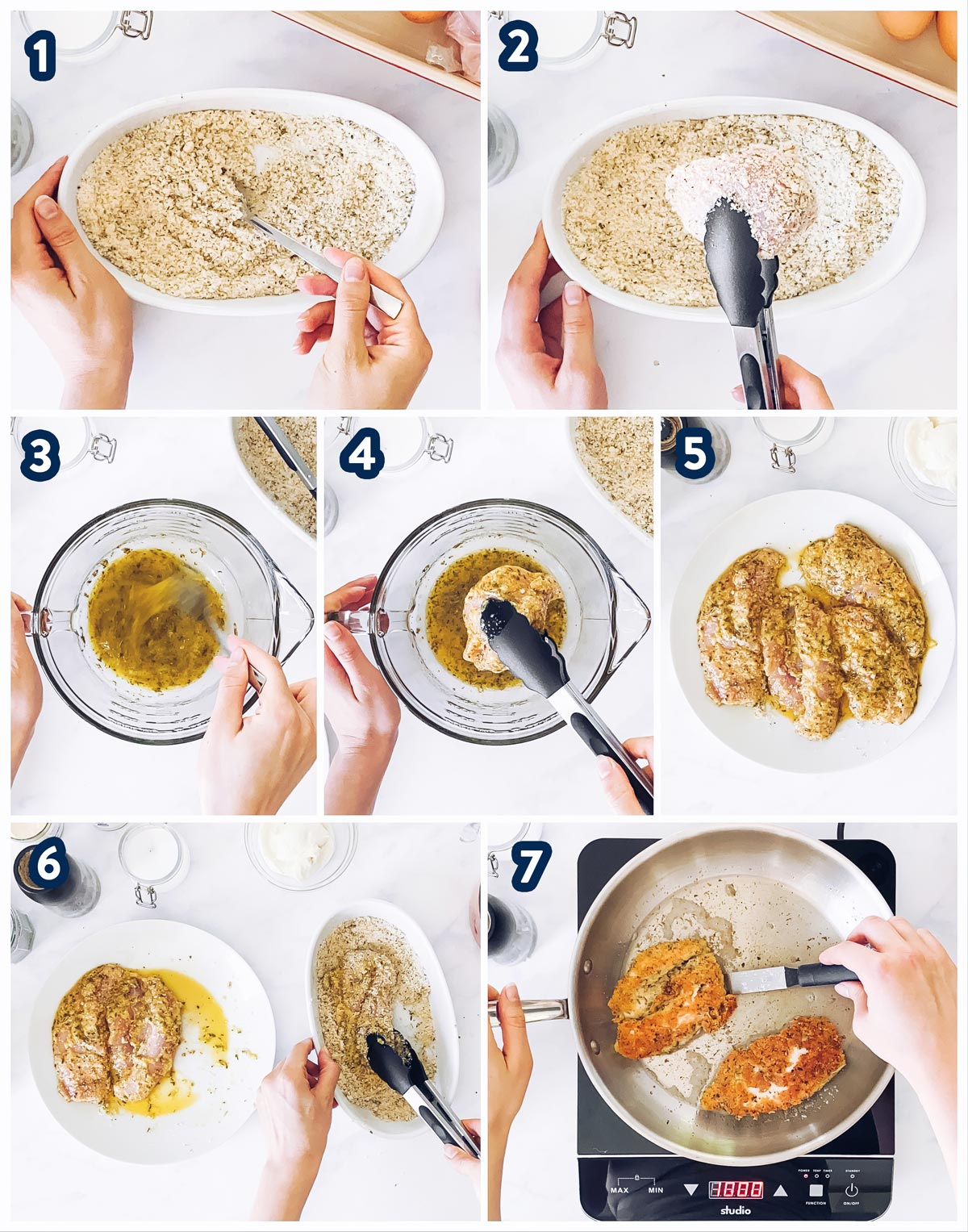 collage of steps to bread chicken