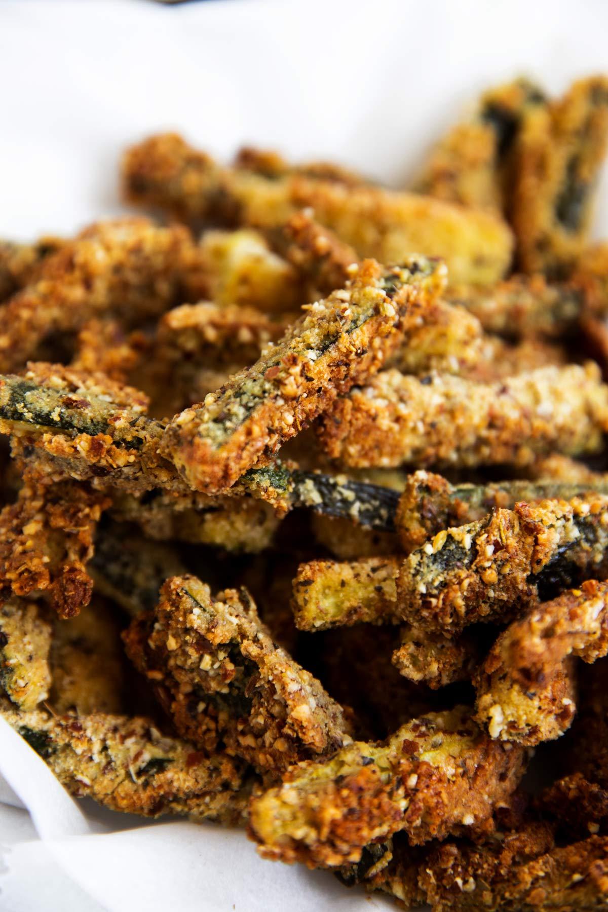 close up of keto zucchini fries