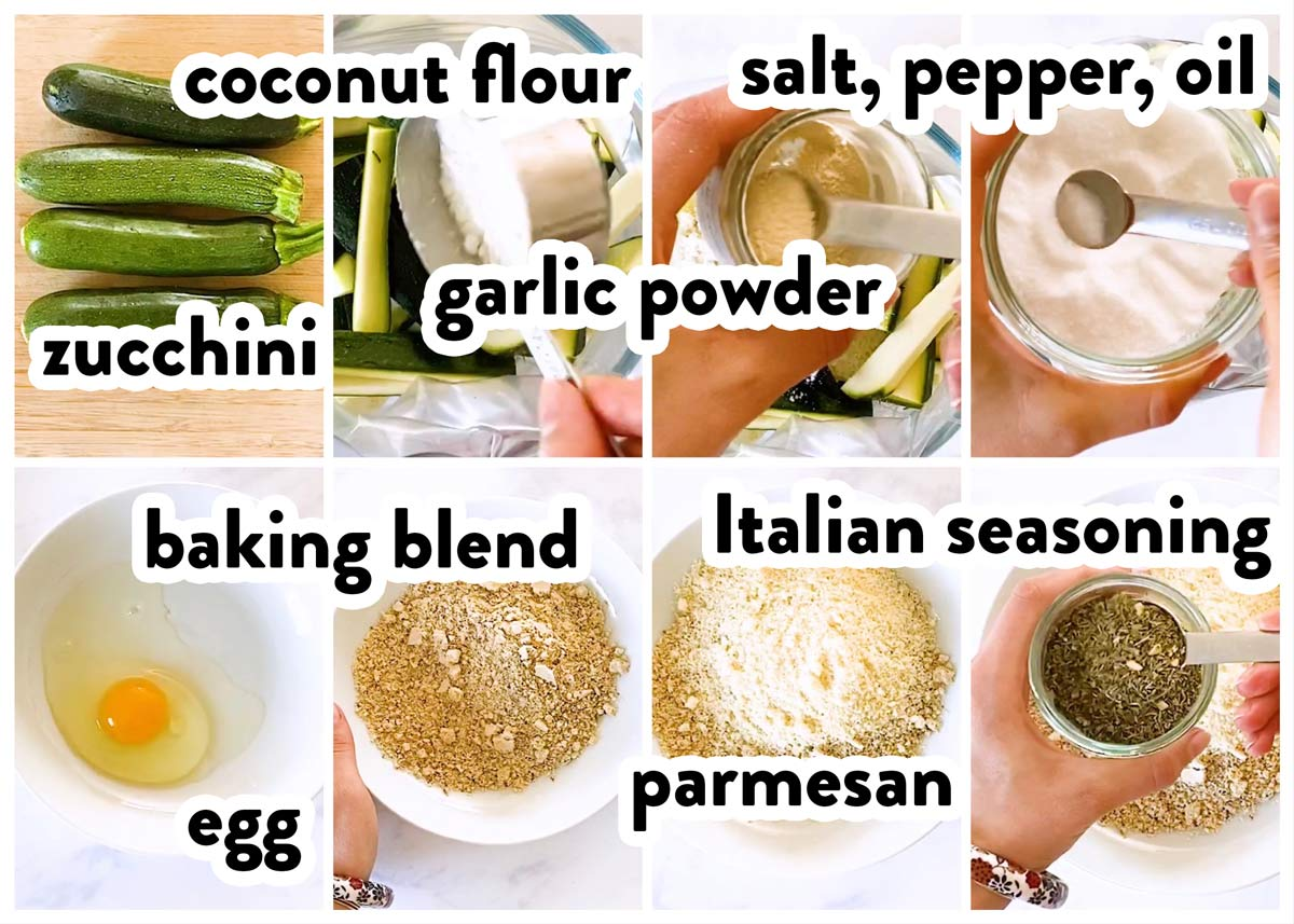 collage of ingredients to make keto zucchini fries