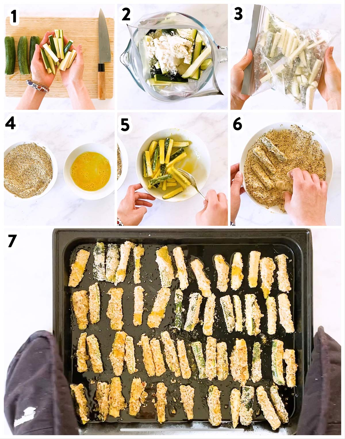 collage of steps to make zucchini fries