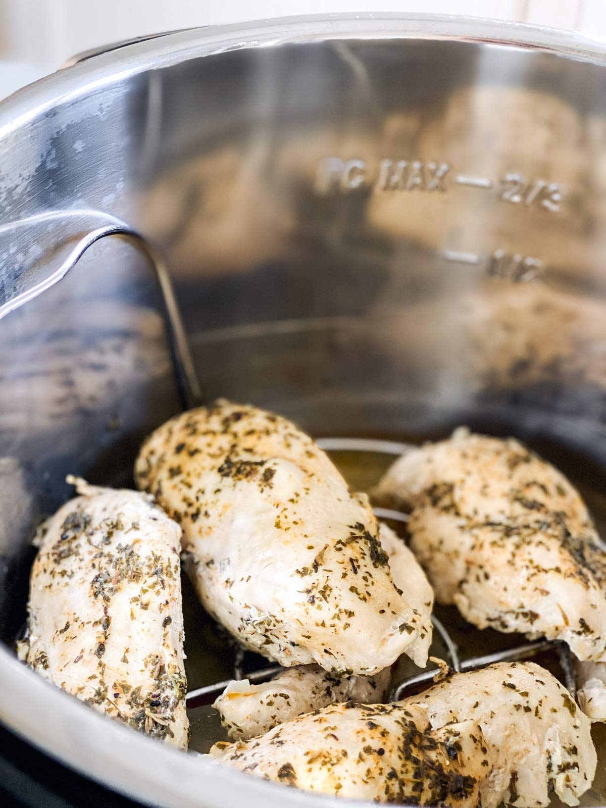 close up photo of chicken breast in instant pot