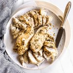 plate with sliced chicken breast