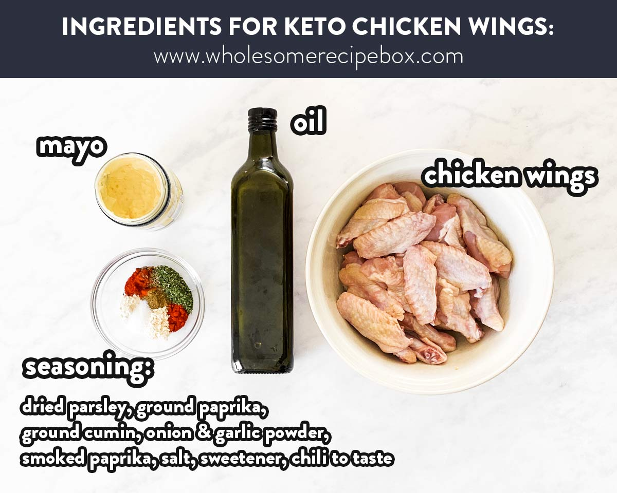 ingredients for keto chicken wings on a marble surface with text labels