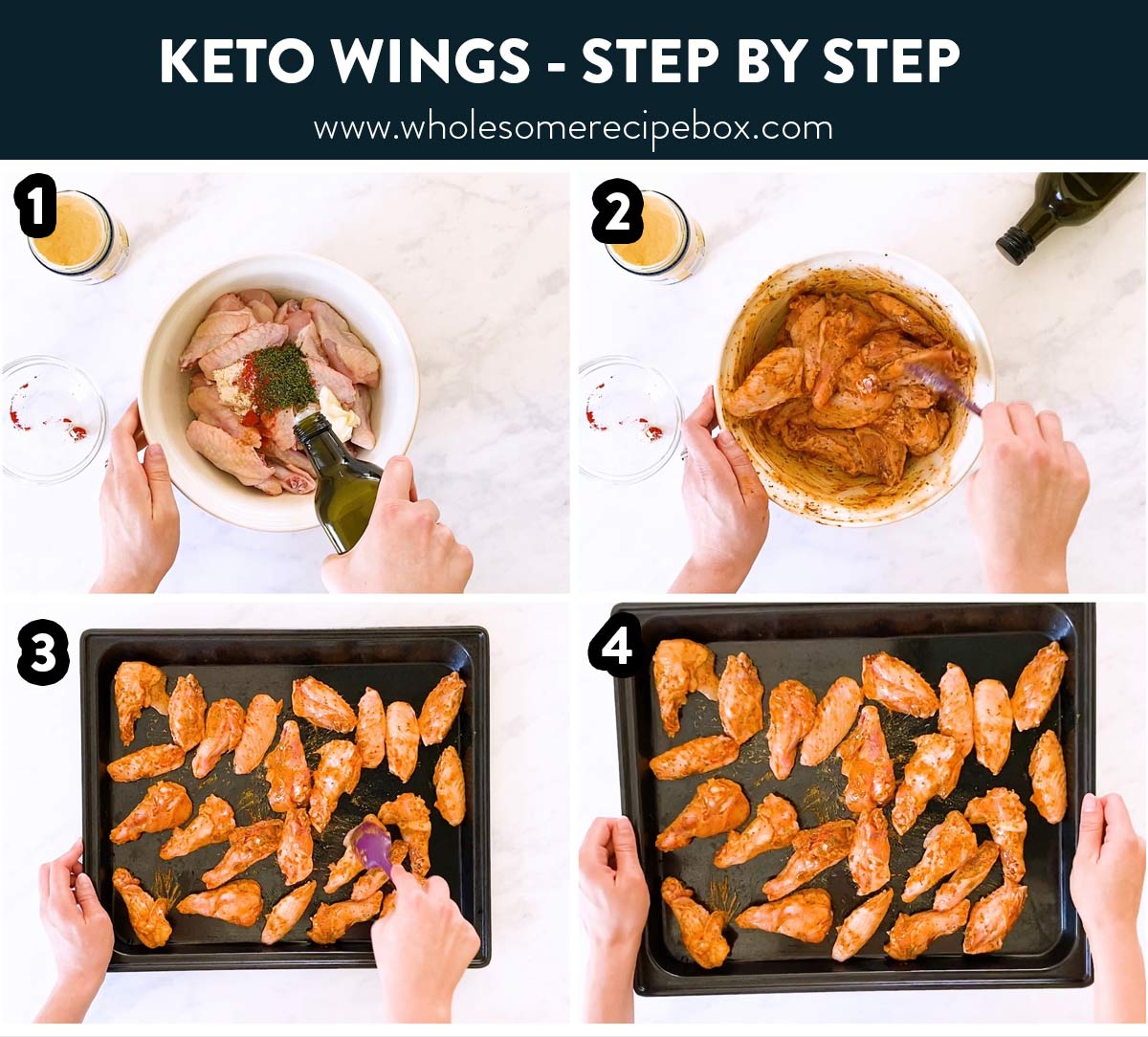 collage of steps to make Keto chicken wings