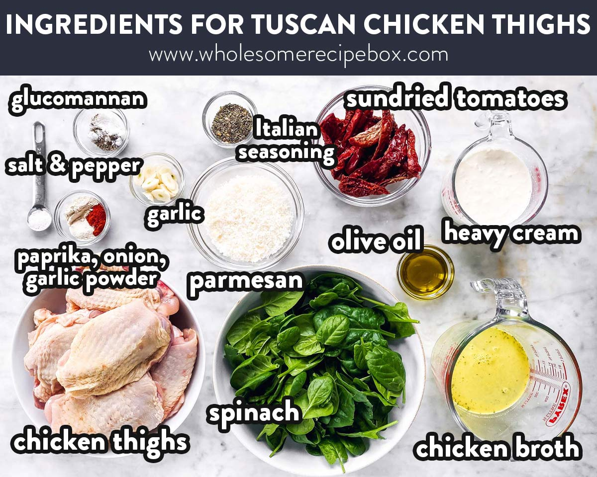 ingredients for creamy tuscan chicken thighs with text labels
