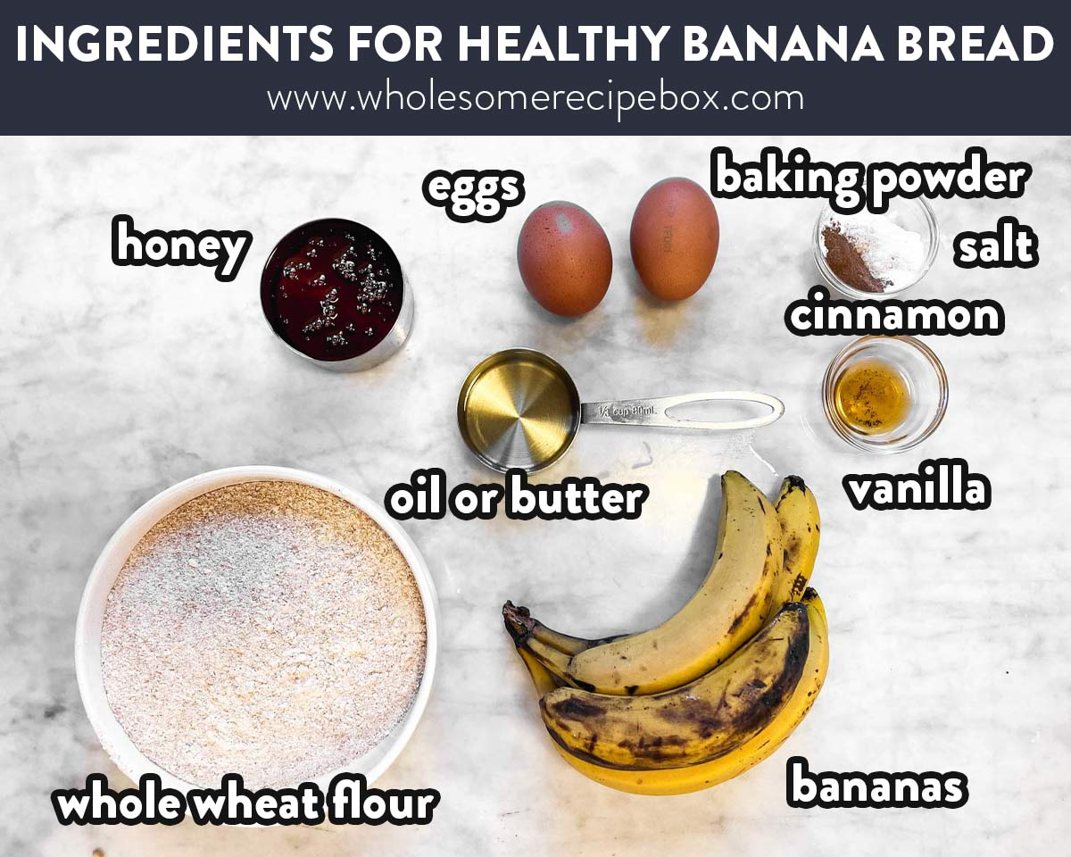 ingredients for healthy banana bread with text labels