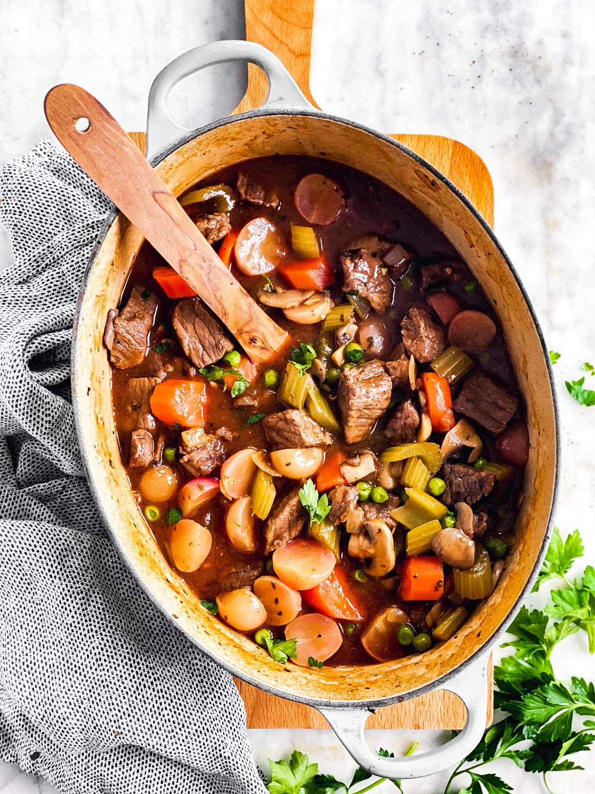 Keto beef stew in Dutch oven