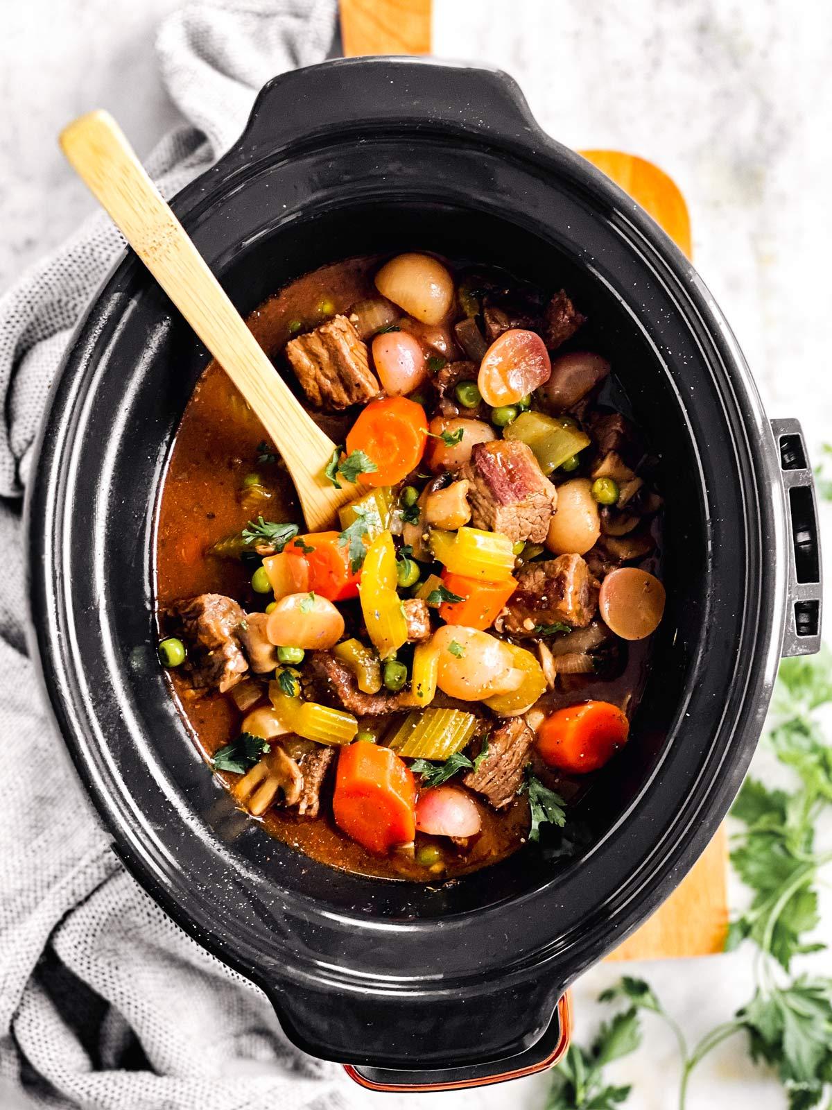 Keto beef stew in slow cooker