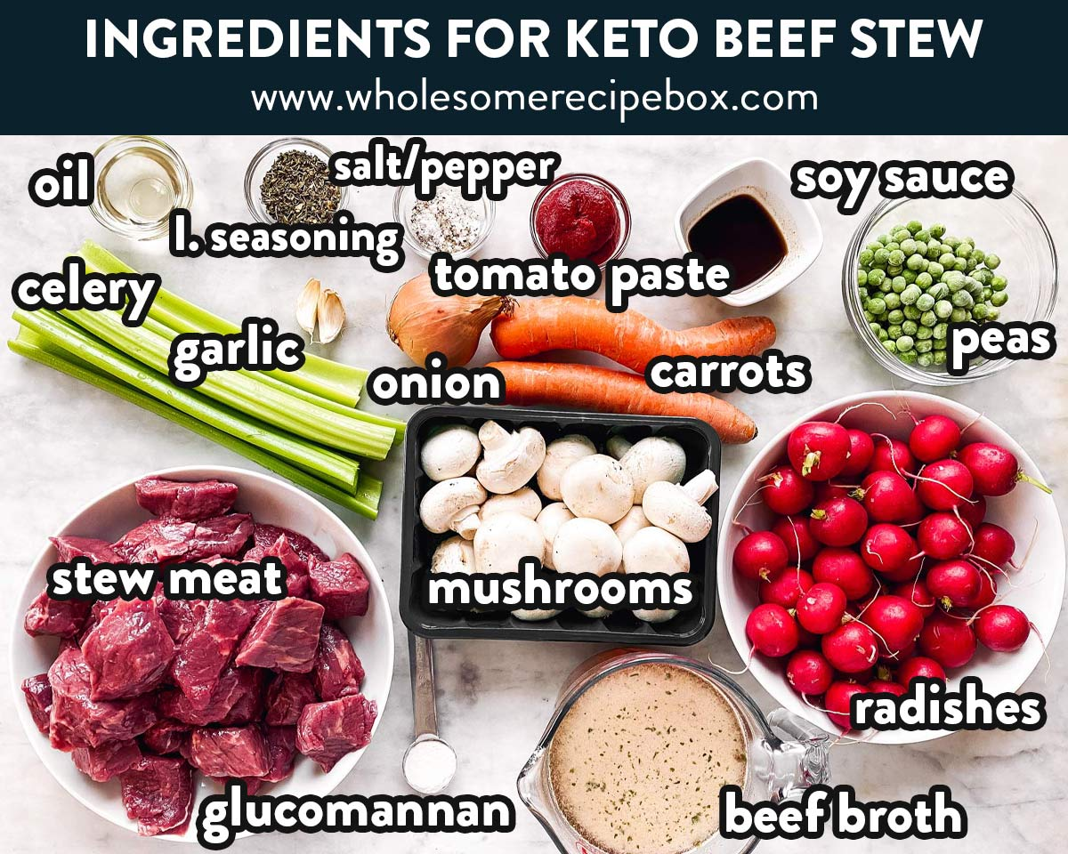ingredients for keto beef stew with text labels